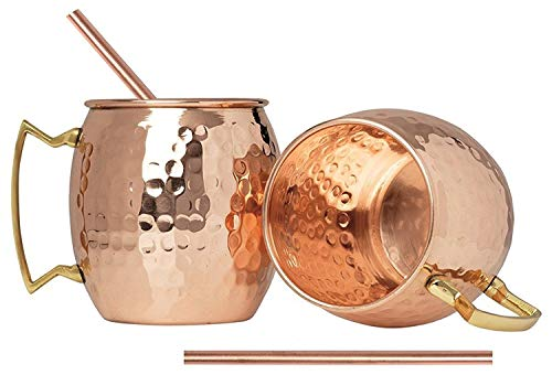 N\C Hammered Moscow Mule Copper Mugs set 18-Ounce (Pack of 8) 8 Straw Free,