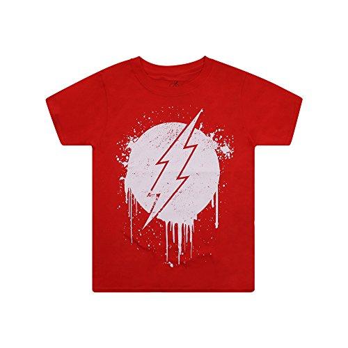 DC Comics Flash Stencil Camiseta, Rosso, XXL para Niños