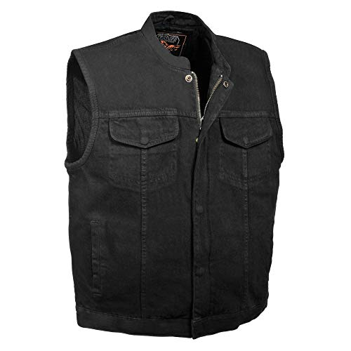 Milwaukee Performance MDM3000 Men's Black Concealed Snap Denim Club Vest with Hidden Zipper - Large