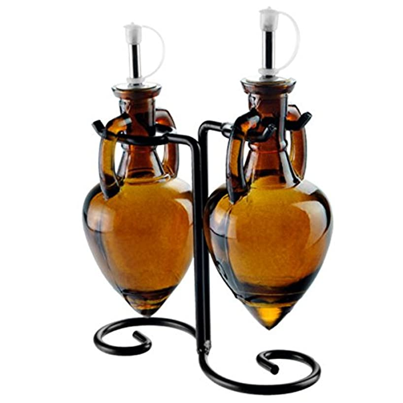 Amber Brown G219VF Olive Oil Vinegar or Dish Wash Soap Dispensers, Decorative Colored Glass Cruet Bottles with Cork, Spout and Black Metal Stand. Romantic Decor & More