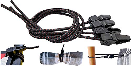 MAGMA Tensores Elasticos, Cuerdas Elastica Sujetar Lonas, Toldos, Señal V20, Portabicicletas Longitud Ajustable Acampadas Camping FastClip 50cm (Pack 4 Units)
