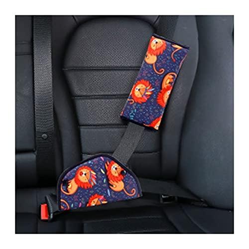 Funda para cinturón de seguridad para bebé, niños, cuello, protector de hombro, posicionador (nombre del color: patrón de león)
