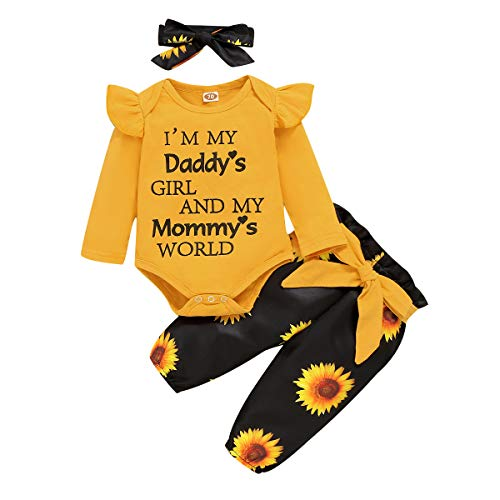 18 Months Girl Clothes Fall Daddys Little Girl Baby Clothes Toddler Baby Girl Outfit Sunflower Pant Headband Girl Boutique Clothing Set 12-18 Months
