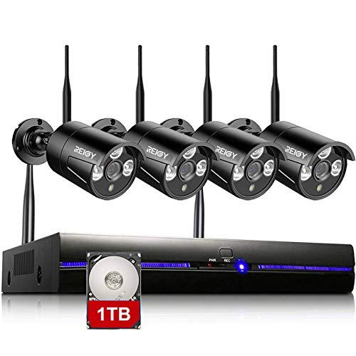 Kit Camara de Vigilancia WiFi Exterior 1296P con 1TB Disco Duro, Sistema de Cámara Seguridad Inalámbrico con 4X3MP Camara IP y 8CH NVR, Visión Nocturna Detección Movimiento Alerta de Correo-REIGY