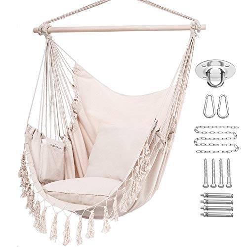 Y- STOP Hammock Chair Hanging Rope Swing, Max 330 Lbs, 2 Cushions Included-Large Macrame Hanging Chair with Pocket for Superior Comfort,Durability (Beige)