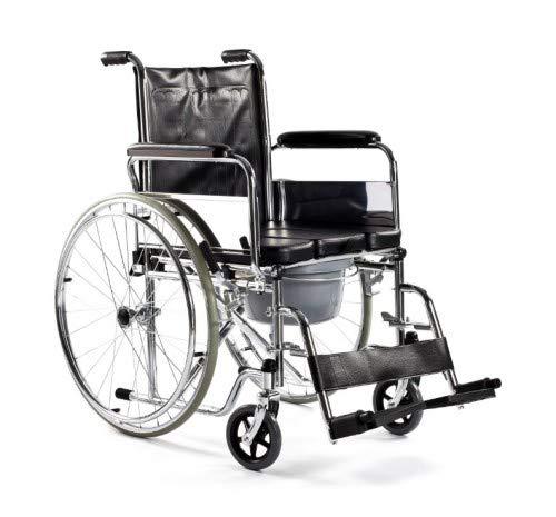 Zusammenfaltbarer Rollstuhl aus Stahl Modell FS681 TIMAGO mit Toilettenfunktion | Sitzbreite:50 cm | Höhe: 43 cm | Maximale Belastbarkeit: 100 kg