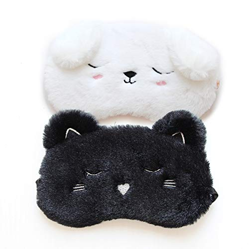 H HOMEWINS 2 Stück Schlafmaske 3D Süße Atmungsaktive Augenmaske aus 100% Naturseide & Plüsch Verstellbares Gummiband Schlafbrille Nachtmaske für Schlafen Reisen Party (Schwarz Katze + Weiß Hündchen)