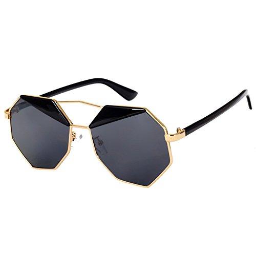 SODIAL(R) Spiegel Design Achteck Sonnenbrille (Schwarz)
