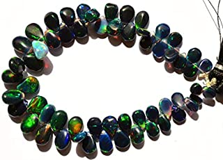 Jewel Beads 50% Off 1 Strand Natural Ethiopian Black Opal Smooth 5x7 to 7x10MM Pear Shape Briolettes 7 Inch Code-AUR-4495