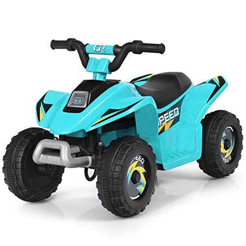 HONEY JOY Ride On ATV, 6V Mini Off-Road Battery Powered Motorized Quad for Kids, 2 Speeds, Anti-Slip Wheels, RWD 4-Wheeler Electric Ride On Toy Car for Toddlers (Blue)