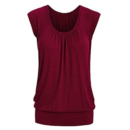 VEMOW Elegante Frauen Damen Sommer Casual Rundhals Solide Lose Beiläufige Tägliche Kurzarm T-Shirt Top Bluse Pulli Tees(Weinrot, 40 DE/M CN)