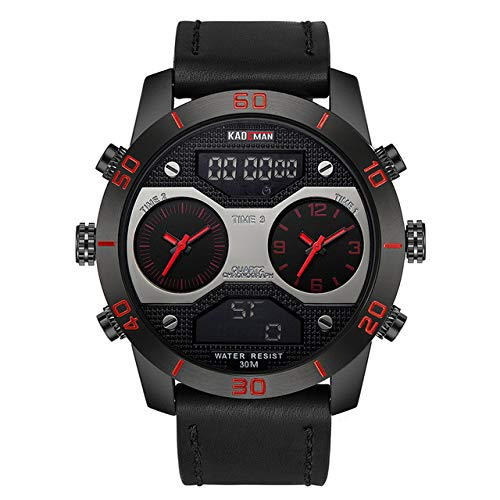 WLKVUOT Mannen Horloges Digitale Horloge Waterdichte Chronograaf Lederen Sport Horloges Mode Klok Horloge