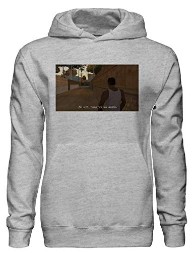Ah Shit, Here we go Again. CJ GTA San Andreas Meme Pullover Hoodie with Pockets - Ring Spun Cotton Hooded Sweatshirt - Soft and Warm Inside - DTG Printed