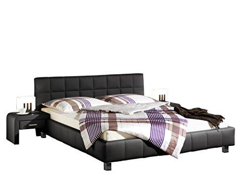 Maintal Polsterbett Java, 180 x 200 cm, Kunstleder, 7-Zonen-Kaltschaum Matratze h2, schwarz