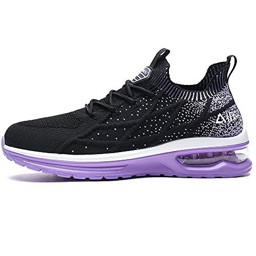 GANNOU Women's Air Athletic Running Shoes Tennis Slip on Walking Sport Fashion Sneakers Purple 8.5 US
