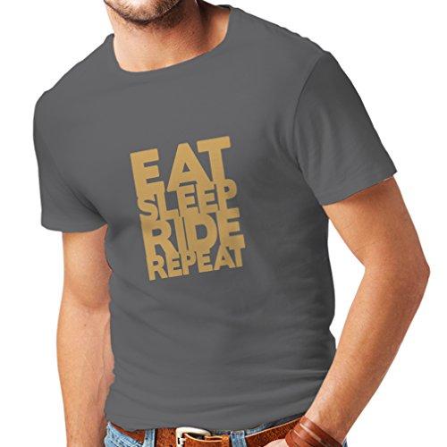 lepni.me Männer T-Shirt Essen - Schlafen - Fahren - Wiederholen - Für Biker - Fahrradliebhaber Zitate (X-Large Grau Gold)