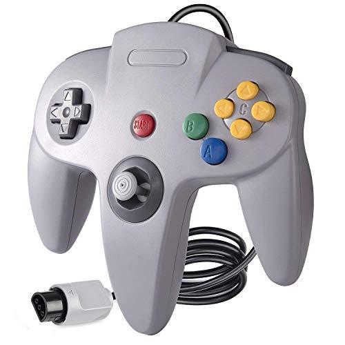 suily Game Controller Klassischer langer Griff mit verdrahtetem Gamepad Joystick für N64 System,Grau