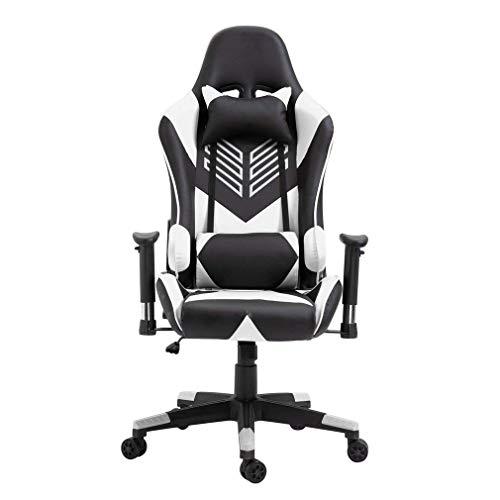Sebastianee AM96 - Silla de oficina, silla de carrera, respaldo alto, revestimiento de poliuretano y poliéster, color blanco