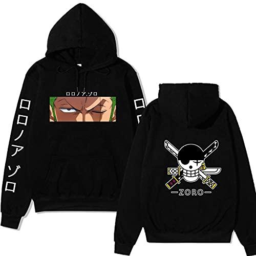 Vocha Anime Merch Kleidung One Piece Hoodie Pullover Zoro Luffy Kapuzenpullover Sweatshirt Cosplay (Black1,S,S)