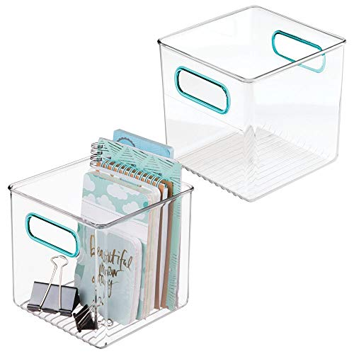 "mDesign Plastic Home, Office Storage Organizer Container with Handles for Cabinets, Drawers, Desks, Workspace - BPA Free - for Pens, Pencils, Highlighters, Notebooks - 6"" Cube, 2 Pack - Clear/Blue"