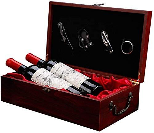 Doubel - Juego de accesorios de vino (4 piezas, mango elegante, caja de regalo de vino tinto de madera, incluye sacacorchos multifuncionales