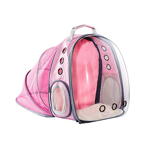 Portable Cat And Dog Backpack,Large Space Breathable Full Transparent Expandable Pet Backpack Travel Space Capsule Suitable for Pets under 16Kg,Pink