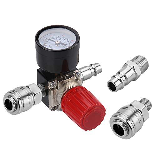'1/4 Regolatore di Pressione Aria - Preciva standard UE Valvola Compressore Aria Interruttore valvola con manometro 175PSI per compressore d' aria, Compressore d' aria, Rosso (3 Fori)