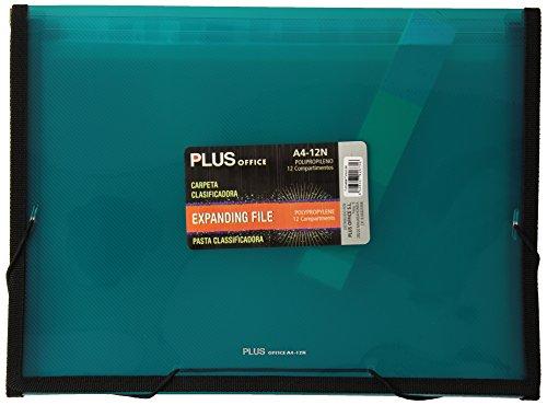 Plus Office 180714 - doorschijnende waaiermap met 12 vakken, A4, turquoise.