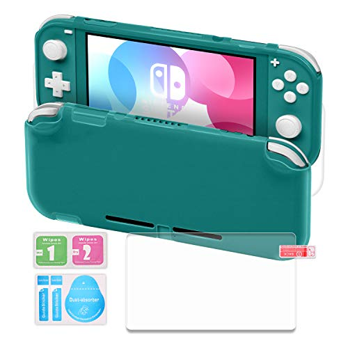 TPU Case Compatible with Switch Lite, Protective Case Compatible with Switch Lite with Tempered Glass Screen Protector - Turquoise