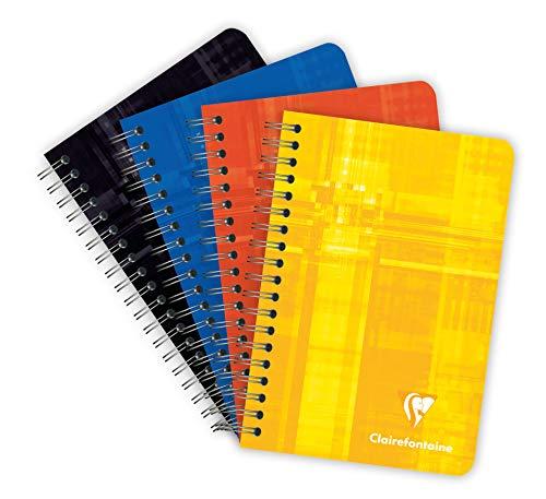 Clairefontaine 668592AMZC - Lot de 4 Carnets à Spirale - 9x14 cm - 100 Pages Petits Carreaux - Papier Blanc 90 g - Couverture Carte Pelliculée Couleur Aléatoire