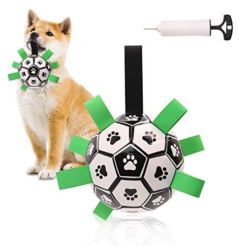 Pallone da calcio per cani, Gioco acquatico per cani, Calcio da giardino interattivo per cani e bambini, Giocattolo per cani Tug of War, Conforme agli standard di sicurezza dei giocattoli per bambini