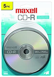 Maxell 648220 Premium Quality Recording Surface for Noise-Free Playback Write Speed 48x 700Mb Cd-Recordable 5 Disc Pack