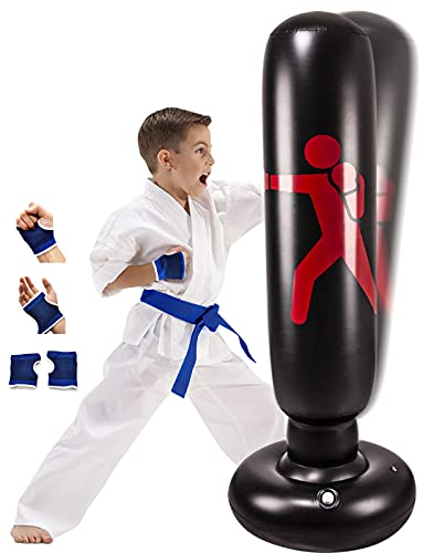 """Inflatable Kids Punching Bag with Stand, Kickboxing Freestanding Punching Bags for Kids&Adults, 63"""" Portable Weighted Boxing Punching Bag for Practicing Karate, Taekwondo, MMA (with Training Gloves)."""