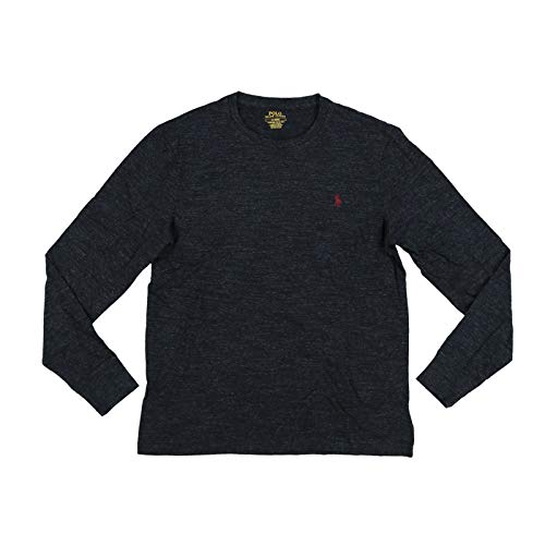 Polo Ralph Lauren Mens Long Sleeve Crew Neck Custom Slim Fit T-Shirt (S, Black Heather)