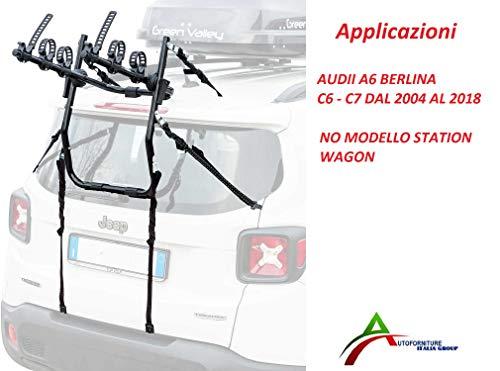 Fietsendrager gemonteerd en rijklaar (3 fietsen) voor achterklep of kofferbak voor auto speciaal voor Audi A6 limousine model C6 - C7 van 2004 tot 2018.