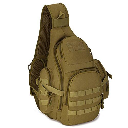 Selighting Slingbag Tactische Brusttasche Militärische Crossbody Bag wasserdichte Umhängetasche Molle Daypack für Trekking Wandern Camping Radfahren (Braun)