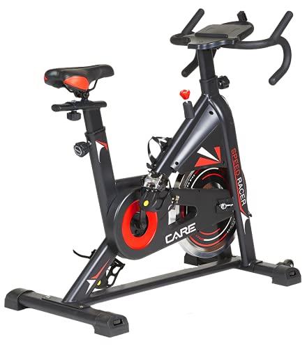 Care Fitnes - Bicicleta estática Spin-Bike Speed Racer con 6 funciones, masa de inercia 12 kg, freno por patines – Bicicleta de biking de diseño y capacidad