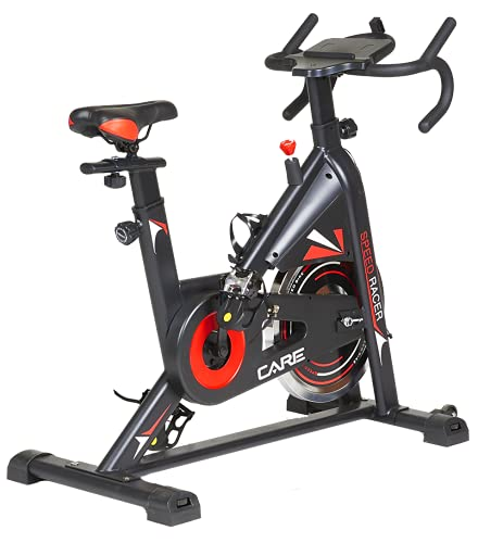 CARE FITNESS - Cyclette Spin-Bike Speed Racer, 6 funzioni, massa di inerzia 12 kg, freno con pattini