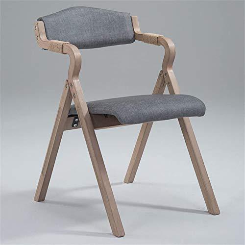 JYHJ Silla de comedor moderna y minimalista plegable, con respaldo de tela, simple y simple (color negro (color gris)
