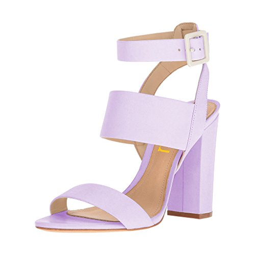FSJ Women Strappy Ankle Strap Sandals Open Toe Slingback Chunky High Heels Shoes Size 7 Lavender