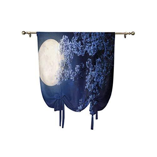Cortinas con diseño de cielo nocturno y luna llena, flor de cerezo, rama de sakura, vía láctea, estrella, cielo nocturno, ventana opaca, 45 x 63 pulgadas, para ventanas del hogar, azul oscuro y blanco