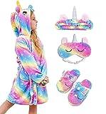 HulovoX Unicorn Hooded Bathrobe with Matching Unicorn Slippers, Headband and Blindfold (Rose blue starlight 8-9 Years)