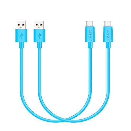 VANKO 2 Piezas 0.25m Cable de Carga USB C Cielo Azul Corto para Samsung Galaxy S10 +, S10 S9 + S8 Plus, Note 10 9 8, A50 A20, Huawei P30, Mate 30 20 10, Google Chromebook, Pixel 3 XL, Nexus 5X, LG G6
