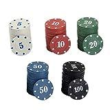 NUOBESTY Fiches da Poker in Plastica Opaca Fiches da Bingo Che Imparano a Contare La Matematica Mini Gioco di Fiches da Poker per Bambini 100 Pezzi