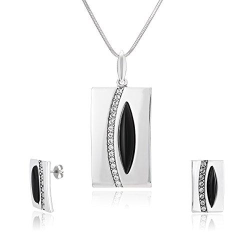 LillyMarie Damen Schmuck set Silber 925 Anhänger mit Onyx und Swarovski Elements Schwarz Längen-verstellbar Schmucketui Partner Geschenke