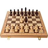 *Unfolded size: 52X52X3cm/20.5X20.5X1.2inch, folded size: 52X26X6cm/20.5X10.2X2.4inch, king height: 9.5cm/3.5inch, two extra queens are provided. *The chess pieces are made of beech wood, hand-carved, and exquisite workmanship. The metal weight is ad...