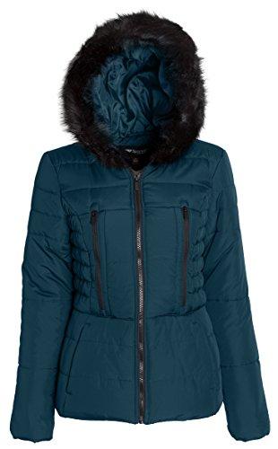 Sportoli Junior Women's Rouched Detail Winter Coat Hooded Short Puffer Jacket (Evergreen / 2X)