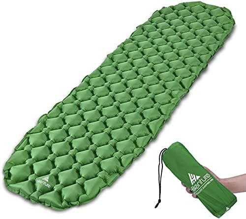 HIKENTURE Unisex Adult hiken02 Kleines Packmaß Ultraleichte Aufblasbare Isomatte-Sleeping Pad für Camping, Reise, Outdoor, Wandern, Strand, Grün ohne Kissen, 1