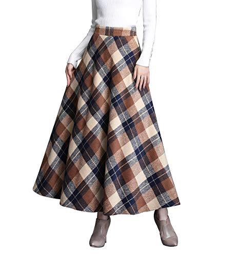 Gonne Donna Vita Alta Lunga Invernali Lana Scozzese Vintage Caldo Eleganti Pieghe Lunghe Gonna Swing (S/Vita Elasticizzata 64 CM, Khaki Plaid)