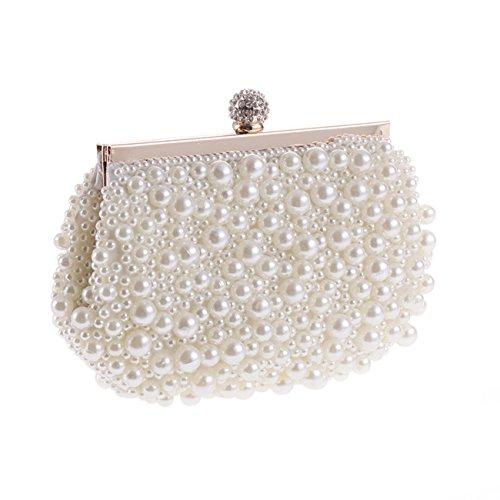 Evening Bag, Fit & Wit Artificial Pearl Clutch Purse Handbag Shoulder Bag for Women